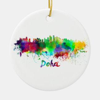 Doha skyline in watercolor ceramic ornament