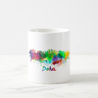 Doha skyline in watercolor coffee mug