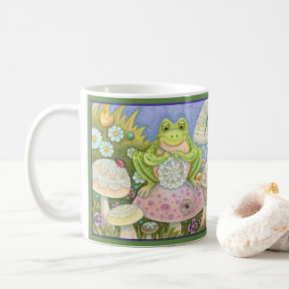 Doilies Make A Hoppy Home FROG MUG *Green