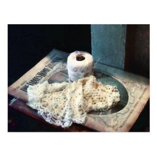 Doily and Crochet Thread Postcard