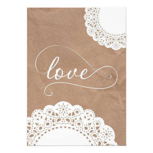 Doily and Kraft Paper Wedding Invitation