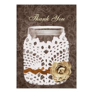 doily wrapped rustic mason jar wedding thank you card