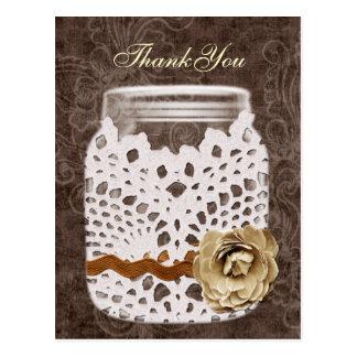 doily wrapped rustic mason jar wedding thank you post card