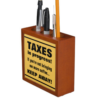 Doing Taxes Keep Away But Bring Coffee Funny Desk Organiser