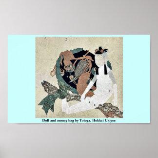 Doll and money bag by Totoya, Hokkei Ukiyoe Print