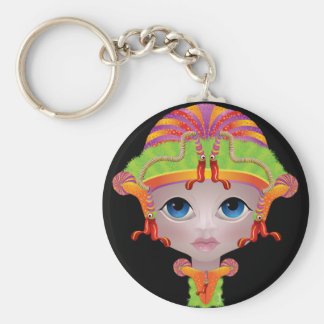 Doll face with fond colours key chains