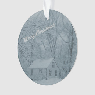 Doll House in Snow Storm Ornament