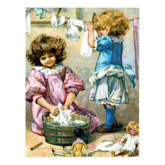 Doll Laundry Day Postcard