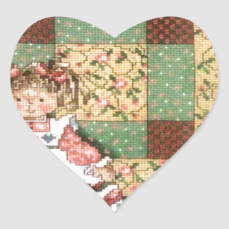 Doll with Quilt Heart Sticker