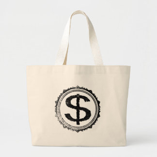 Dollar Rubber Stamp Large Tote Bag