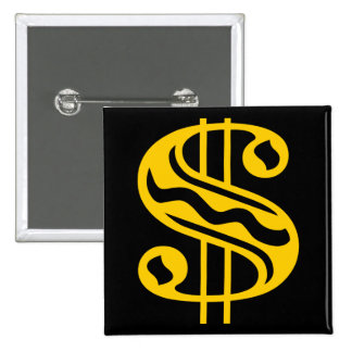 Dollar Sign - Amber 15 Cm Square Badge
