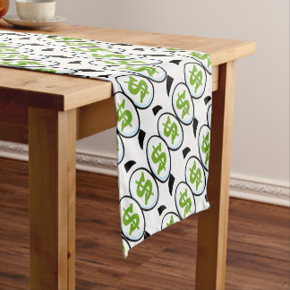 Dollar Sign Cartoon Eyes Money Cash Short Table Runner