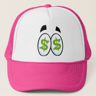 Dollar Sign Cartoon Eyes Money Cash Trucker Hat