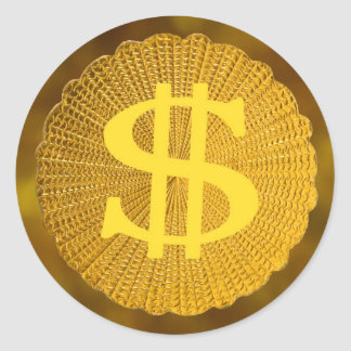 dollar sign classic round sticker