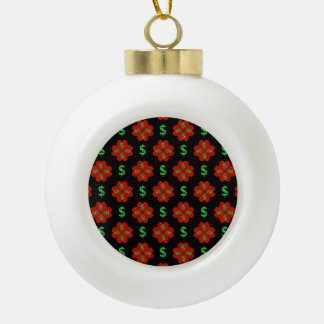 Dollar Sign Graphic Pattern Ceramic Ball Christmas Ornament
