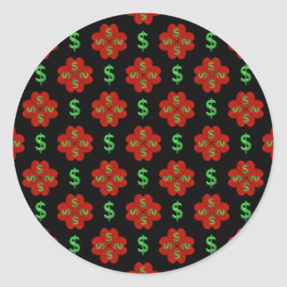 Dollar Sign Graphic Pattern Classic Round Sticker