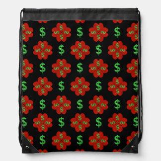 Dollar Sign Graphic Pattern Drawstring Bag