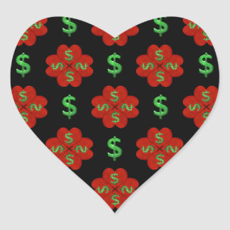 Dollar Sign Graphic Pattern Heart Sticker