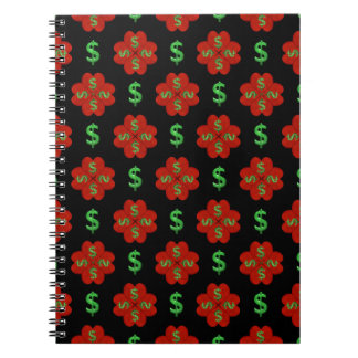 Dollar Sign Graphic Pattern Spiral Notebook