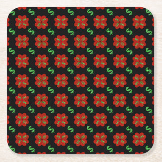 Dollar Sign Graphic Pattern Square Paper Coaster