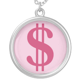 Dollar Sign Round Pendant Necklace