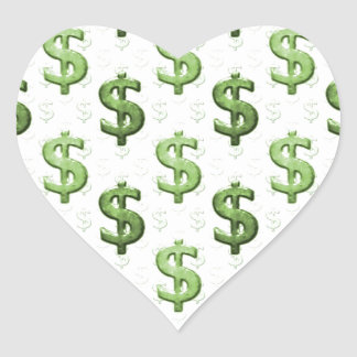 Dollar Sign Pattern Heart Sticker