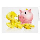 Dollar sign piggy bank cards