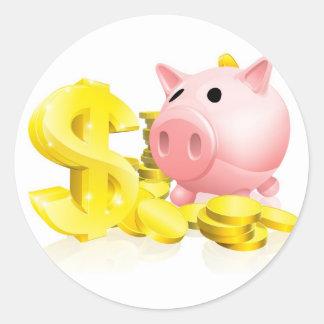 Dollar sign piggy bank round sticker