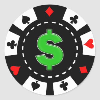 DOLLAR SIGN POKER CHIP CLASSIC ROUND STICKER