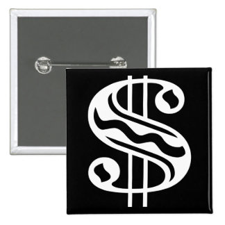 Dollar Sign - White 15 Cm Square Badge