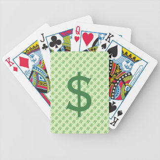 Dollar Signs on Green Bicycle Playing Cards