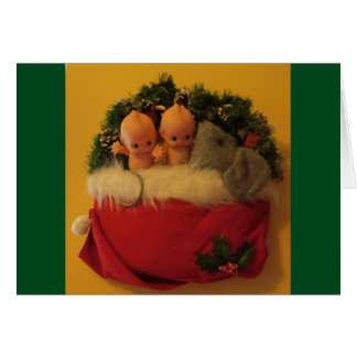 Dollies snuggled with mouse in Santa hat Card
