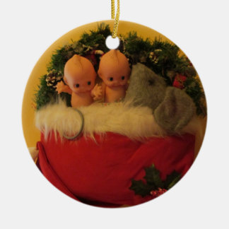 Dollies snuggled with mouse in Santa hat Ceramic Ornament