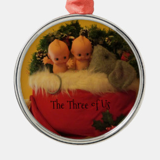 Dollies snuggled with mouse in Santa hat Metal Ornament