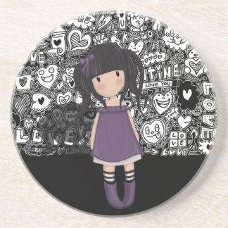 Dolly girl in purple coaster