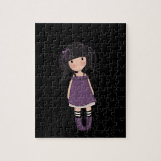 Dolly girl in purple jigsaw puzzle
