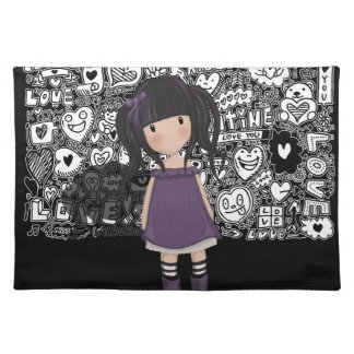 Dolly girl in purple placemat