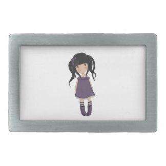 Dolly girl in purple rectangular belt buckles