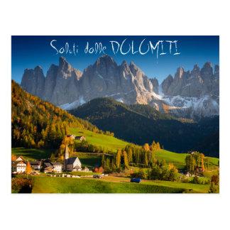 Dolomites village in fall italian postcard