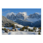 Dolomites village in winter poster