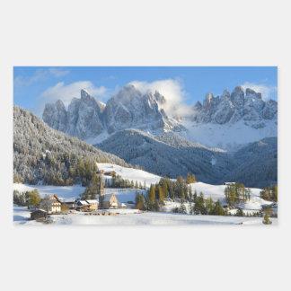Dolomites village in winter rectangular sticker