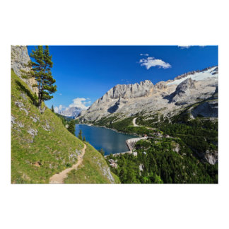 Dolomiti - Fedaia pass with lake Poster