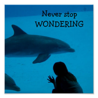 """Dolphin and Ocean """"Never Stop Wondering"""" Poster"""