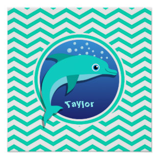 Dolphin Aqua Green Chevron Poster