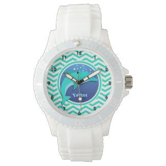 Dolphin; Aqua Green Chevron Watches