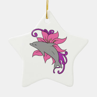 Dolphin Beside a Lily Ceramic Ornament
