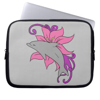 Dolphin Beside a Lily Laptop Sleeve