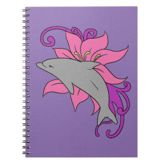 Dolphin Beside a Lily Spiral Notebook