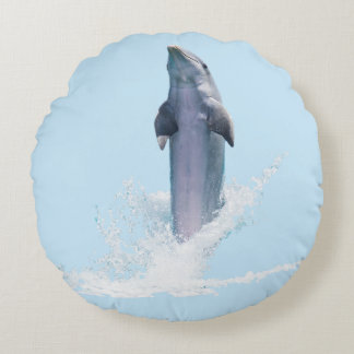 Dolphin Blue Brushed Polyester Round Throw Cushion