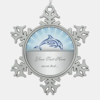 Dolphin Blue Mandala Personalize Snowflake Pewter Christmas Ornament
